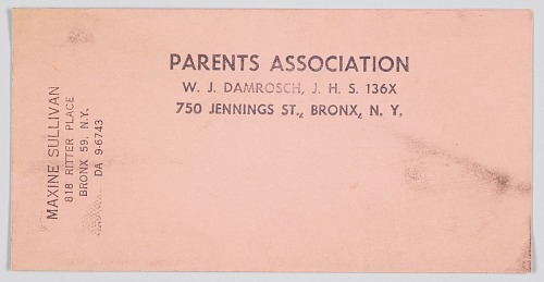 Image for Document for the Parents Association of W. J. Damrosch Junior High School