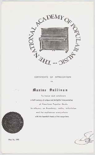 Image for Photocopy of a Certificate of Appreciation for Maxine Sullivan