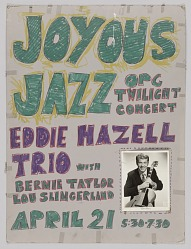 Poster advertising jazz concerts for Richard Sudhalter and the Eddie Hazell Trio