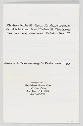 Image for Program for the funeral service of Benjamin E. Hall