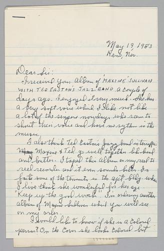 Image for Letter from John L. Lewis regarding Maxine Sullivan