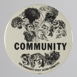 Pinback button for the CDA Community Staff Action Committee
