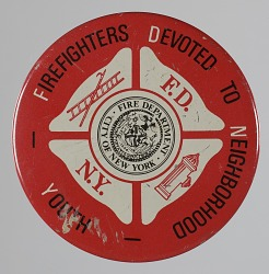 Pinback button for the Fire Department of the City of New York youth program
