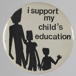 Pinback button for education activism