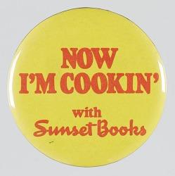 Pinback button advertising Sunset Books
