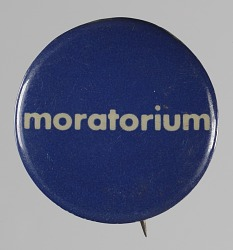Pinback button for the National Chicano Moratorium Commitee