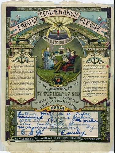 Image for Family temperance pledge for Luther Miller Pulce and Irene Jenkins