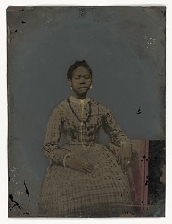 Tintype of a seated young woman