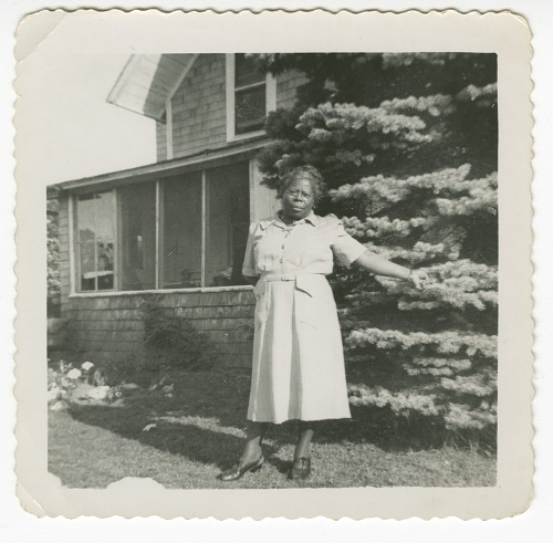 Image for Digital image of a woman outside the Taylor family home on Martha's Vineyard