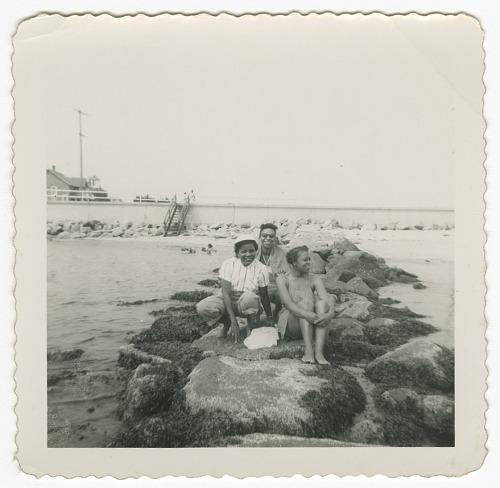 Image for Digital image of Taylor family women posing on rocks on Martha's Vineyard