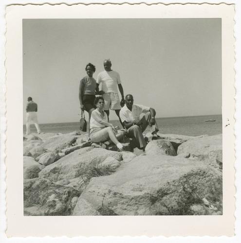 Image for Digital image of Taylor family members posing on rocks on Martha's Vineyard