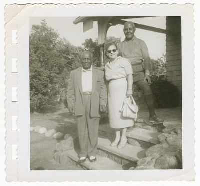 Digital image of two men and a woman at the Taylor home on Martha's Vineyard