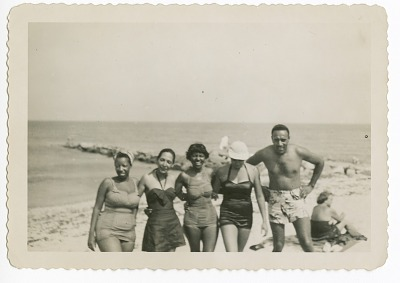 Digital image of the Taylor family at the beach on Martha's Vineyard