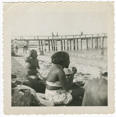 Digital image of Taylor family members at the beach on Martha's Vineyard