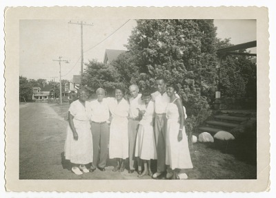 Digital image of the Taylor family outside their home on Martha's Vineyard
