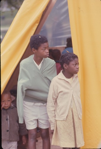 Image for Two girls at tent - Resurrection City, Wash, D.C. - 1968