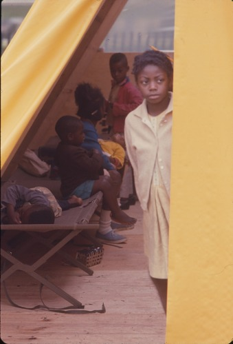 Image for Young girl in tent doorway - Resurrection City, Wash., D.C. - 1968