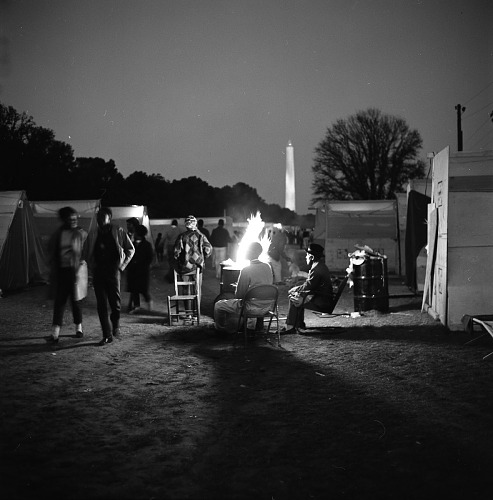 Image for Night scene at campfire - Resurrection City, Wash, D.C. - 1968