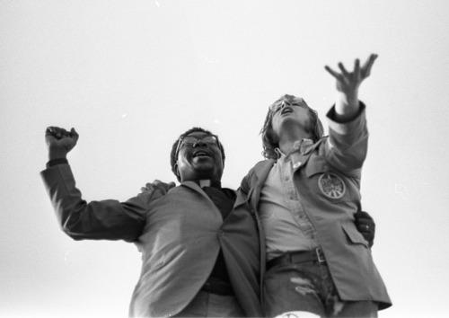 Image for Black & white man at rally - Boston, Mass. - 1968