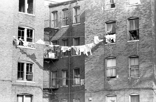 Image for Building with clothesline - Boston, Mass. - 1969