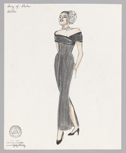 Image for Costume design drawing by Judy Dearing for Billie Holiday in The Song of Sheba