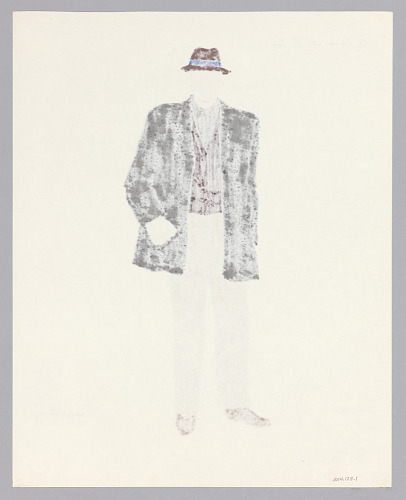 Image for Costume design drawing by Judy Dearing for Bobo in A Raisin in the Sun