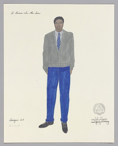 Image for Costume design drawing by Judy Dearing for Joseph Asagai in A Raisin in the Sun