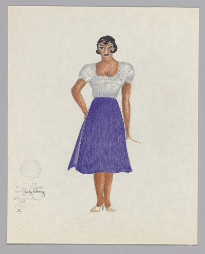 Image for Costume design drawing by Judy Dearing for Bess in Porgy and Bess