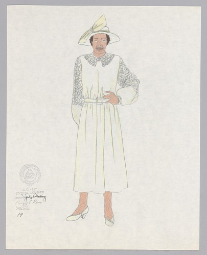 Image for Costume design drawing by Judy Dearing for Maria in Porgy and Bess