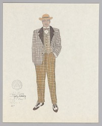 Costume design drawing by Judy Dearing for Nelson in Porgy and Bess