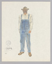 Costume design drawing by Judy Dearing for Peter in Porgy and Bess