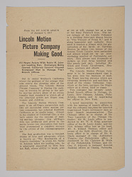Press Release from the Lincoln Motion Picture Company