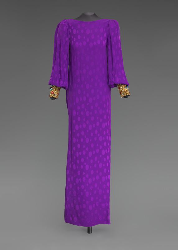 Image 1 for Purple dress designed by Oscar de la Renta and worn by Whitney Houston