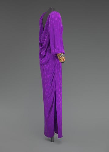 Image for Purple dress designed by Oscar de la Renta and worn by Whitney Houston