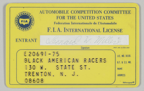 Image for FIA license for Leonard Miller