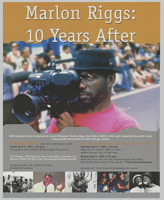 Poster advertising Marlon Riggs: 10 Years After