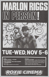 Poster advertising Marlon Riggs In Person!
