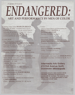 Poster for A Series of Events Endangered: Art and Performance by Men of Color