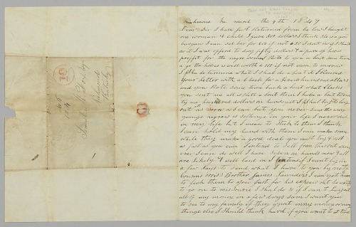 Image for Letter to Samuel Fox from Giles Saunders regarding the slave trade