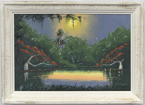 Image for Two Egrets in a swamp, Poinciana Trees