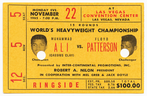 Image for Muhammad Ali v. Floyd Patterson boxing ticket