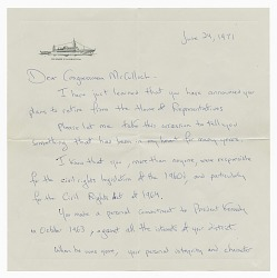 Letter from Jacquelyn Kennedy Onassis to Congressman William McCulloch