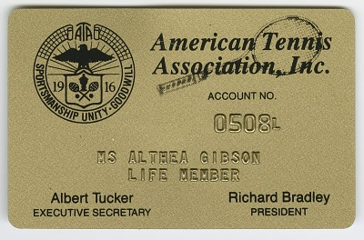 Membership card to the American Tennis Association for Althea Gibson