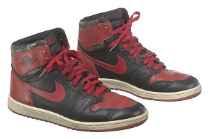 images for Pair of red and black Air Jordan I high top sneakers made by Nike-thumbnail 1