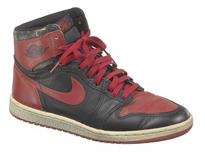 images for Pair of red and black Air Jordan I high top sneakers made by Nike-thumbnail 4