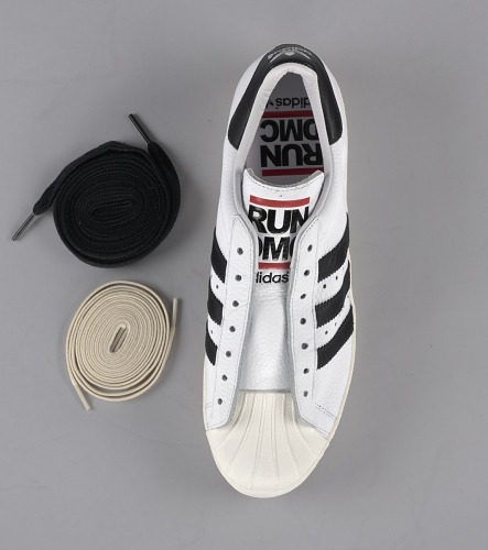 836c7a4b88f536 ... Image for Pair of white and black Run-D.M.C. Superstar 80s sneakers made  by Adidas ...