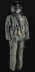 Pilot flight suit and gear owned by Charles F. Bolden