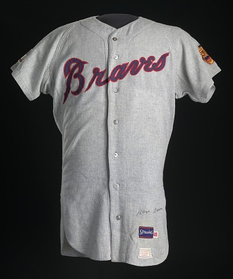Jersey for the Atlanta Braves worn and autographed by Hank Aaron