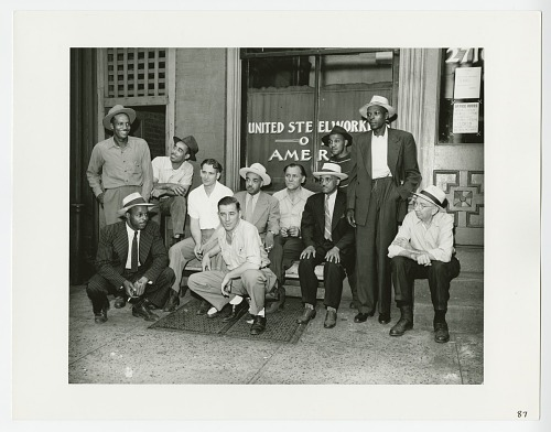 Image for Photographic print of a men outside the United Steelworkers of America