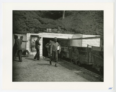 Photographic print of miners in Library, Pennsylvania
